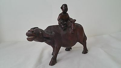 Antique Vintage Chinese Carved Wood Statue of Ox or Water Buffalo with Child