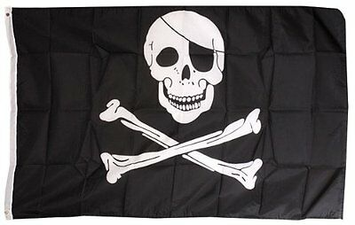 Pirate FLAG Skull and Crossbones Jolly Rodger Large 5x3' Size