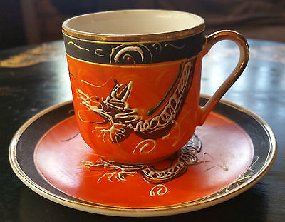 "VINTAGE STUNNING RARE ""ORANGE DRAGONWARE EGGSHELL CHINA CUP & SAUCER SET ""1950's"
