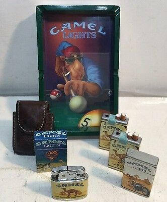 5 Vintage Lighters And Leather Pouch And Ash Tray Camel Cigarette.