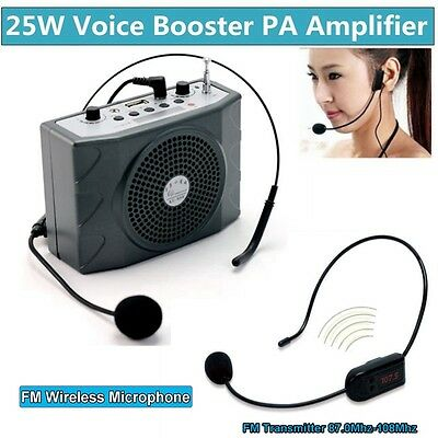 25W Waistband PA Voice Amplifier Booster With FM Wireless Microphone For Teacher
