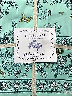 NEW April Cornell 60 x 84 inch Floral Tablecloth - Teal Aqua Blue Yellow Birds