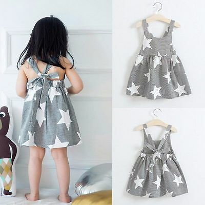 Toddler Girl Summer Sleeveless Flower Dress Sundress Kids Party Tutu Dress Skirt
