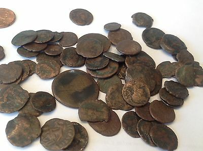 Authentic Copper Roman 60 +coins Lot.Metal detector finds 137 Buy It Now!