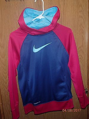Youth Girls Nike Therma Fit Hot  Pink Blue Logo Hooded Sweatshirt Size Xl