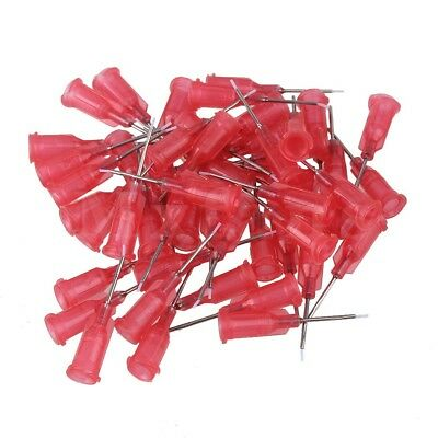"50x Red 1/2"""" 27Ga Screw Type Stainless Steel Dispenser Blunt Needle Tips"