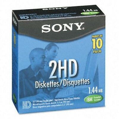 "Sony 2HD 3.5"" IBM Formatted Floppy Disks (10-Pack) New Free Shipping"