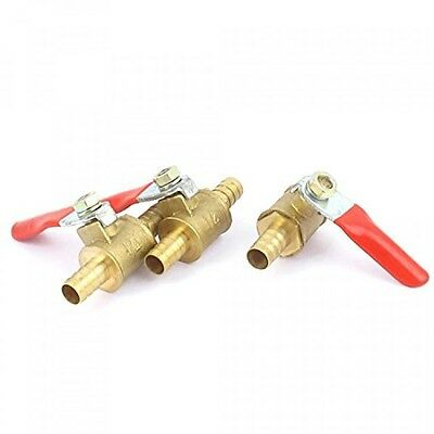 uxcell Brass Water Fuel Line Shutoff Ball Valve 1/4 Inch Hose Barb 3pcs Red