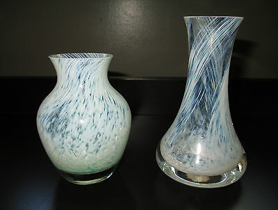 Caithness 2 Posy Bud Vases Mottled White Green Swirls Scotland