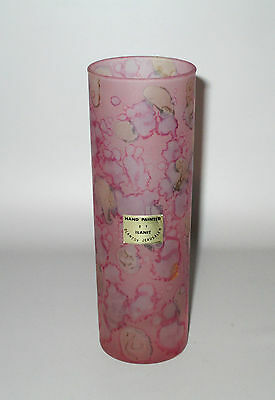 Ilanit Cylinder Bud Vase Pink Satin Glass Olamtov Jerusalem Label Hand Painted