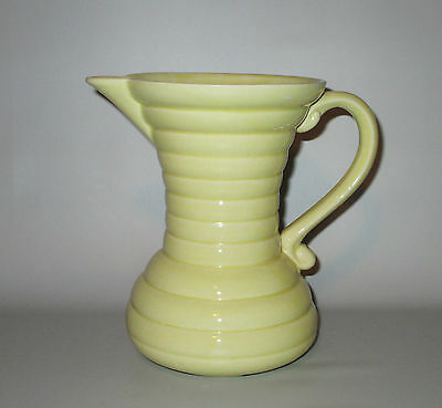 """Ring Ware Pitcher Jug Yellow Long Neck Ringed Pottery 6 3/4"""" Signed England"""