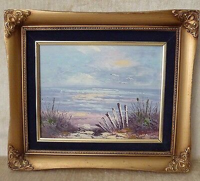 Artist Signed Tony Seascape Coastal Beach Oil Painting on canvas Sand Dunes
