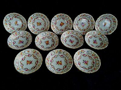 Dresden Flowers china 12 fruit sauce bowls Schumann Germany roses tulips garland