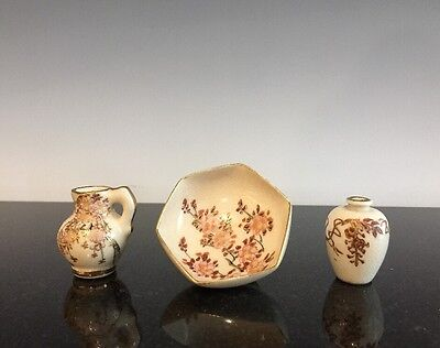 Three Miniature Vintage Pieces Of Kyoto Satsuma Japanese Pottery Doll Set