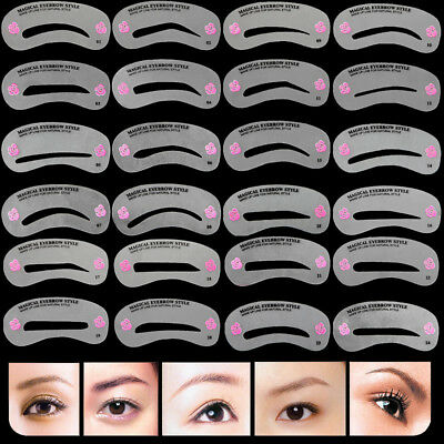 24 Pcs Pro Reusable Eyebrow Stencil Set Eye Brow DIY Drawing Guide Styling