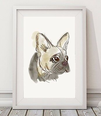 French Bulldog Sketch Drawing Poster A3 Watercolor Print / Dog Wall Art