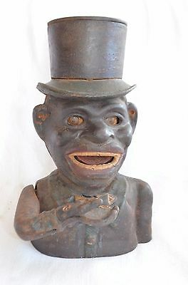 "Original The High Hat Jolly ""n"" Antique Mechanical Bank Ny Barn Find"