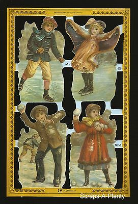 Die Cut Scrap Mamelok English - Winter Children Scenes (Archives Collection) A51