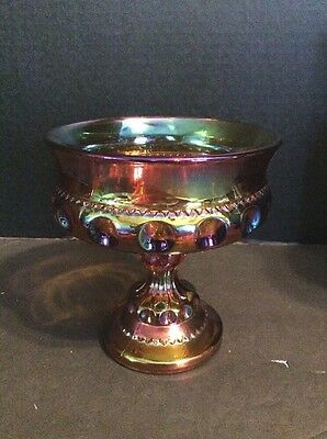 Vintage Indiana Amber Carnival Glass Compote Candy Dish King's Crown