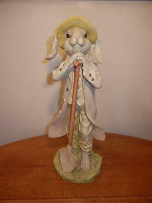 """Tall Resin 18"""" Rabbit In Coat With Garden Shovel For Easter Or Spring, CUTE!"""