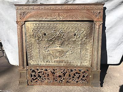 Antique Ornate Victorian Cast Iron Fireplace Cover Screen