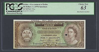 Belize 20 Dollars 1-1-1976  P37cs Specimen Perforated Uncirculated