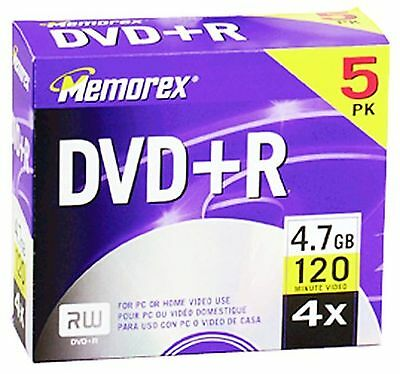 Memorex 4.7GB 4x DVD+R Media (5-Pack with Jewel Cases) New Free Shipping