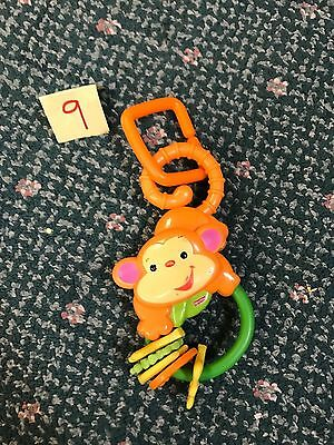 Fisher-Price Rainforest Monkey Teether Rattle Toy GUC