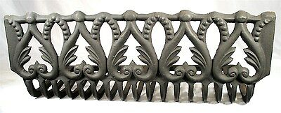 Antique Art Nouveau Cast Iron Scroll Beaded Foliage Surround Fire Place Grate