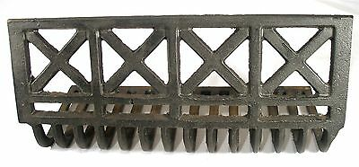 Antique Art Deco Cast Iron Cris Cross X Whale Bone Fire Place Grate For Surround