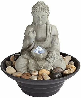 Seated Buddha LED Light Tabletop Water Fountain Indoor Outdoor Zen Relaxation