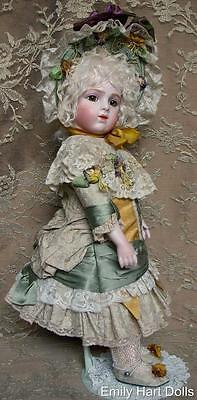 Bru jne 8 porcelain doll in pure silk & Antique lace costume