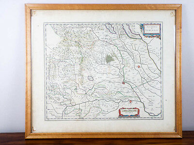 RARE Antique 1600s Framed Map Signoria di Vercelli Italy