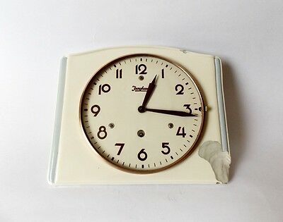 Vintage Art Deco style 1940s Ceramic Kitchen Wall clock JUNGHANS Made in Germany