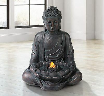 Zen Buddha LED Light Meditation Water Fountain Indoor Outdoor Relaxation Bronze
