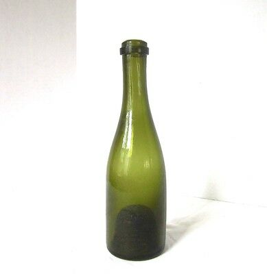Hand Blown Bottle Antique Green Glass 1700s or Early 1800s New England