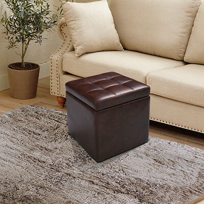 Faux Leather Ottoman Pouffe Storage Toy Box Seater Foot Stool Bench Seat Brown