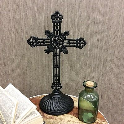Cast Iron CROSS Decorative Black Metal 37cm High Home Decor