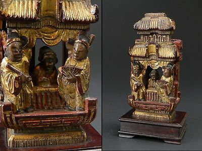 Chinese Old Qing Dynasty Court Statue / W 7 × D 8 × H 15.5 [cm]