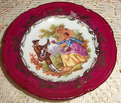 Vintage Miniature Limoges Red Courting Couple Plate