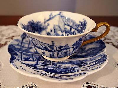 Rare WILEMAN Foley (Pre Shelley)Century Shape Cup and Saucer 'Blue Scenery' 6901