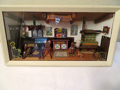 Vintage German Bavarian Diorama Shadow Box Wood Folk Art Primitive WWII period