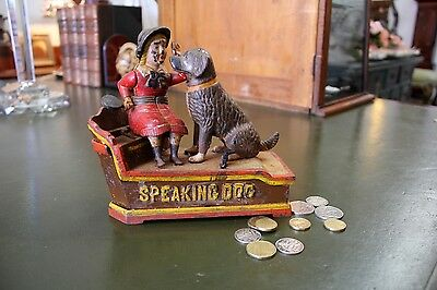Vintage Cast Iron Speaking Dog Mechanical Money Bank, Box