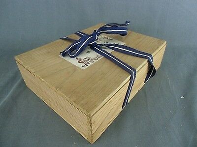 WB245 Japanese Wooden box Storage 6.9inx9.25inx2in Pottery Lacquer Purple Ribbon