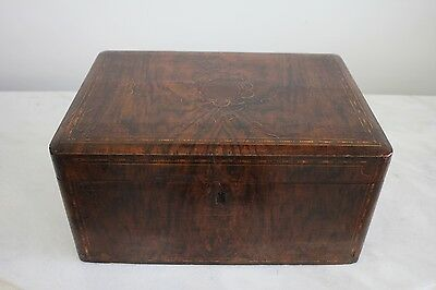 Antique Victorian Tea Caddy Box with Fine Inlay, c.1840