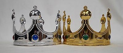 2x PC GOLD OR SILVER PLASTIC KING PRINCE CROWN WITH JEWELS - COSTUME DRESS UP