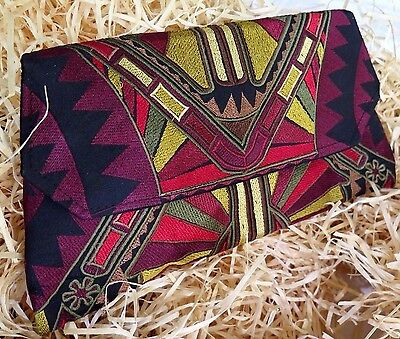Deco Inspired Embroidered  Shoulder Bag/ purse / Clutch  Hmong Fair Trade