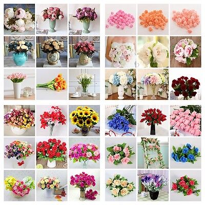 Artificial Fake Plastic Silk Eucalyptus Plant Flowers Home Garden Wedding Decor