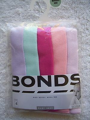 BNIP Baby Girl's Bonds 5 Pack Pink, Purple & Aqua Cotton Singlets Size 0000