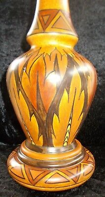 George Clews & Co Chameleon Ware Art Deco Hand Painted Signed Lamp Base & Shade